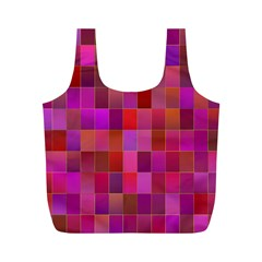 Shapes Abstract Pink Full Print Recycle Bags (m)