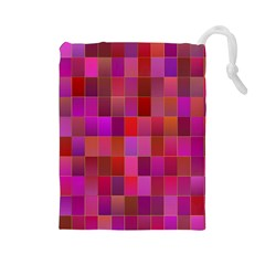 Shapes Abstract Pink Drawstring Pouches (large)