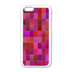Shapes Abstract Pink Apple iPhone 6/6S White Enamel Case