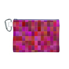 Shapes Abstract Pink Canvas Cosmetic Bag (M)