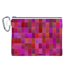 Shapes Abstract Pink Canvas Cosmetic Bag (L)