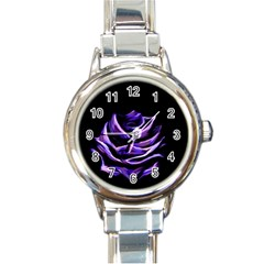 Rose Flower Design Nature Blossom Round Italian Charm Watch
