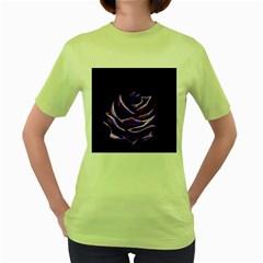 Rose Flower Design Nature Blossom Women s Green T-Shirt