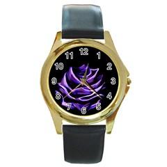 Rose Flower Design Nature Blossom Round Gold Metal Watch
