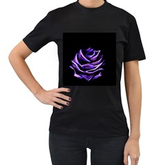 Rose Flower Design Nature Blossom Women s T Shirt (black) (two Sided)