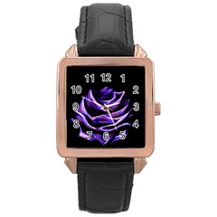 Rose Flower Design Nature Blossom Rose Gold Leather Watch