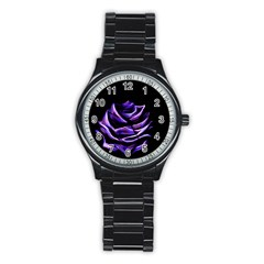 Rose Flower Design Nature Blossom Stainless Steel Round Watch