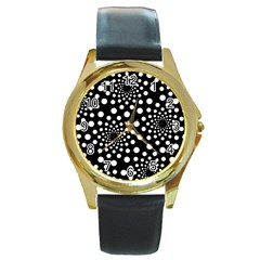 Dot Dots Round Black And White Round Gold Metal Watch