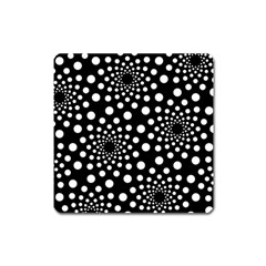 Dot Dots Round Black And White Square Magnet