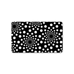 Dot Dots Round Black And White Magnet (Name Card)