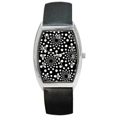 Dot Dots Round Black And White Barrel Style Metal Watch