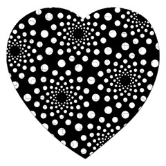 Dot Dots Round Black And White Jigsaw Puzzle (heart)