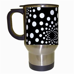 Dot Dots Round Black And White Travel Mugs (White)