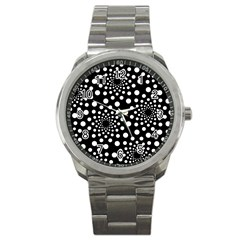 Dot Dots Round Black And White Sport Metal Watch