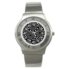 Dot Dots Round Black And White Stainless Steel Watch