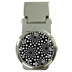 Dot Dots Round Black And White Money Clip Watches
