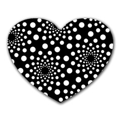 Dot Dots Round Black And White Heart Mousepads