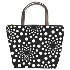 Dot Dots Round Black And White Bucket Bags