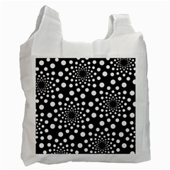 Dot Dots Round Black And White Recycle Bag (One Side)
