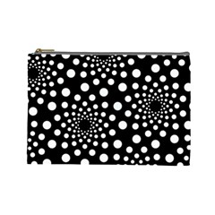 Dot Dots Round Black And White Cosmetic Bag (Large)