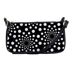 Dot Dots Round Black And White Shoulder Clutch Bags