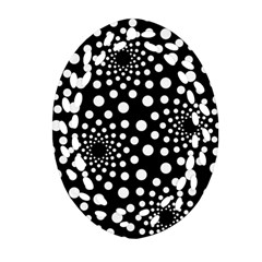 Dot Dots Round Black And White Ornament (oval Filigree)