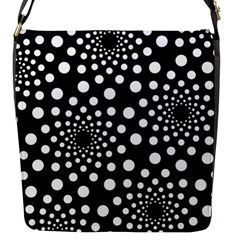 Dot Dots Round Black And White Flap Messenger Bag (s)