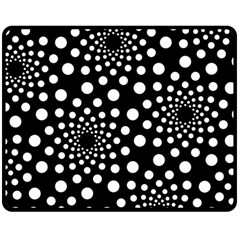 Dot Dots Round Black And White Double Sided Fleece Blanket (Medium)