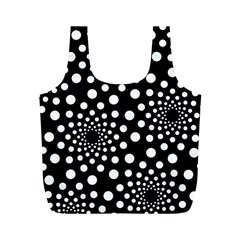 Dot Dots Round Black And White Full Print Recycle Bags (M)