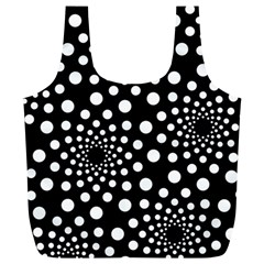 Dot Dots Round Black And White Full Print Recycle Bags (l)