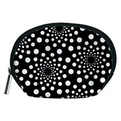 Dot Dots Round Black And White Accessory Pouches (Medium)