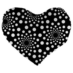 Dot Dots Round Black And White Large 19  Premium Flano Heart Shape Cushions