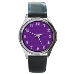 Pattern Violet Purple Background Round Metal Watch