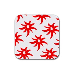 Star Figure Form Pattern Structure Rubber Square Coaster (4 pack)