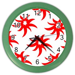 Star Figure Form Pattern Structure Color Wall Clocks