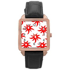 Star Figure Form Pattern Structure Rose Gold Leather Watch