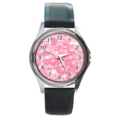 Plant Flowers Bird Spring Round Metal Watch
