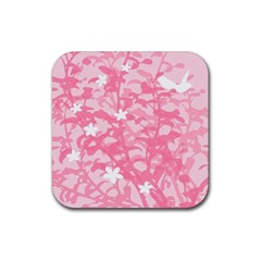 Plant Flowers Bird Spring Rubber Square Coaster (4 pack)
