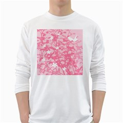 Plant Flowers Bird Spring White Long Sleeve T Shirts