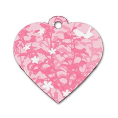 Plant Flowers Bird Spring Dog Tag Heart (one Side)