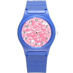 Plant Flowers Bird Spring Round Plastic Sport Watch (S)