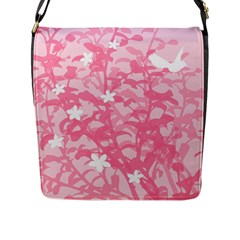 Plant Flowers Bird Spring Flap Messenger Bag (l)