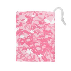 Plant Flowers Bird Spring Drawstring Pouches (Large)