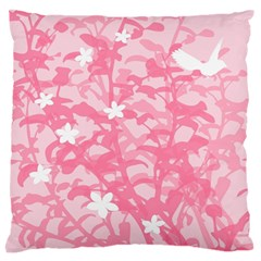 Plant Flowers Bird Spring Large Flano Cushion Case (two Sides)