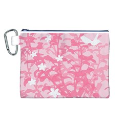 Plant Flowers Bird Spring Canvas Cosmetic Bag (L)