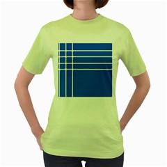 Stripes Pattern Template Texture Women s Green T Shirt