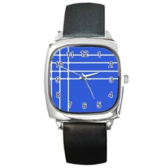 Stripes Pattern Template Texture Square Metal Watch