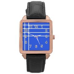 Stripes Pattern Template Texture Rose Gold Leather Watch