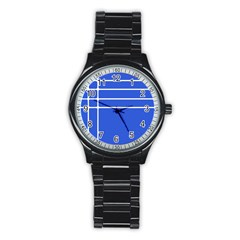 Stripes Pattern Template Texture Stainless Steel Round Watch