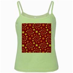 Star Stars Pattern Design Green Spaghetti Tank